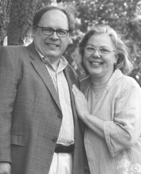 A black and white photo of David Rice and Alison Vesely