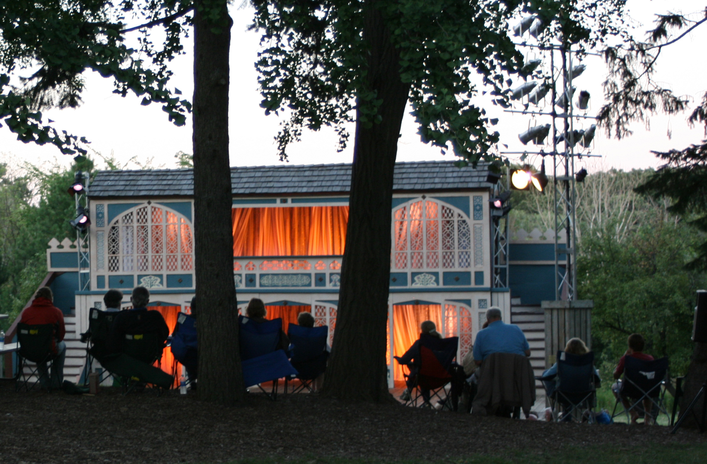 A hilltop view of First Folio's Outdoor Stage during their production of Twelfth Night, 2010.