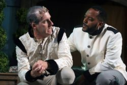 Kevin McKillip as Leontes, and Kyle Haden as Camillo