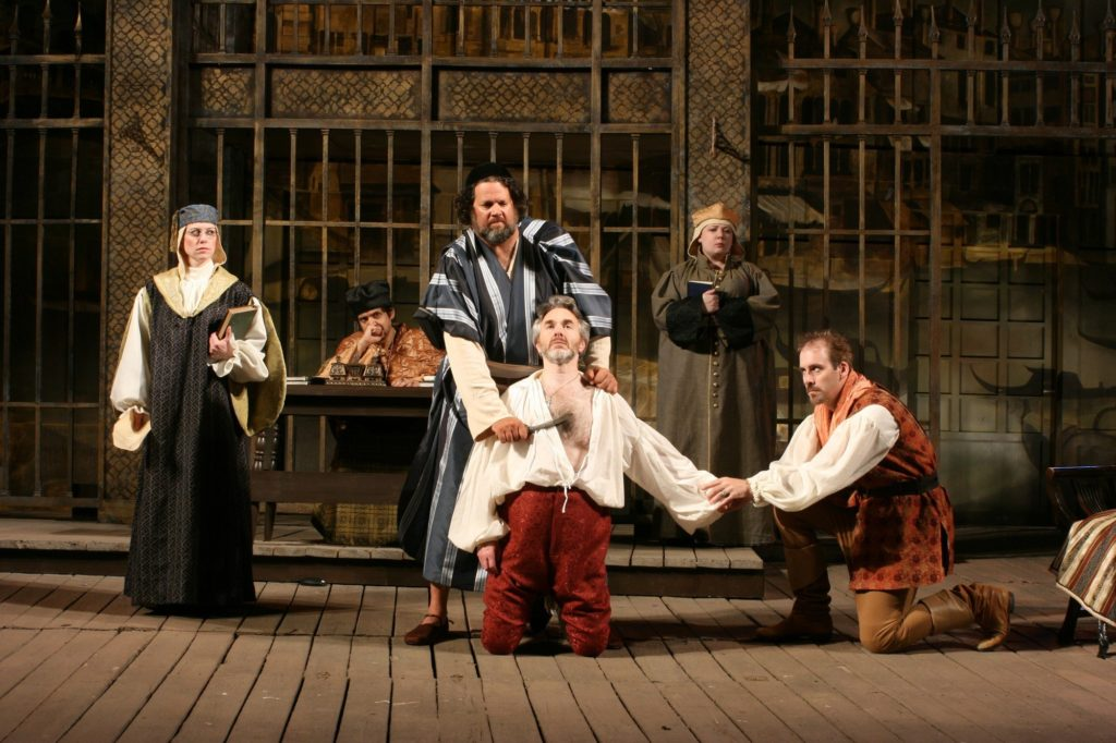 Melanie Keller (Portia), René Ruelas (Duke of Venice), Michael Goldberg (Shylock), Michael Joseph Mitchell (Anthonio), Hayley L. Rice (Nerissa), and Kevin McKillip (Bassanio)