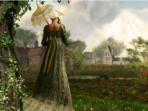A 19th century woman in a long green dress and carries a white parasol, looking over a field and a few brown houses.