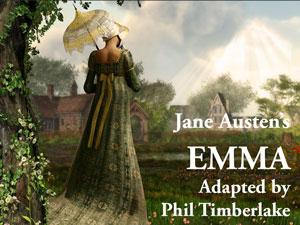 Emma logo. A Victorian era women in a long green dress and carrying a white parasol walks through a fields of flowers.