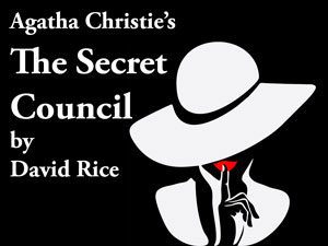 """The Secret Council Logo. A black and white illustration of a women with a white hat, holding her finger against her red lips in a """"shush"""" gesture."""