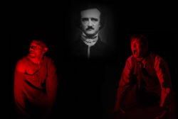 The face of Edgar Allan Poe looms over two men lit by red lighting, the Prisoner on the left, and the Madman on the right.