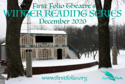 The First Folio outdoor stage in winter, covered in snow and surrounded by bare trees.