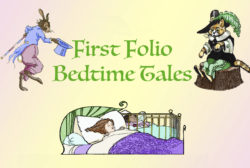 Logo for Bedtime Tales, with a little girl sleeping in bed, dreaming about a rabbit in a blue coat and a orange cat in a black and green outfit.