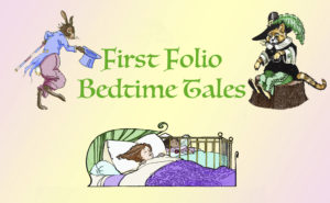 Bedtime Tale Logo; a little girl is sleeping in bed, dreaming of a rabbit in a blue coat and a orange cat in a black and green outfit.