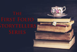The Storytellers Logo, a floral painted tea cup on top of a stack of weathered books.